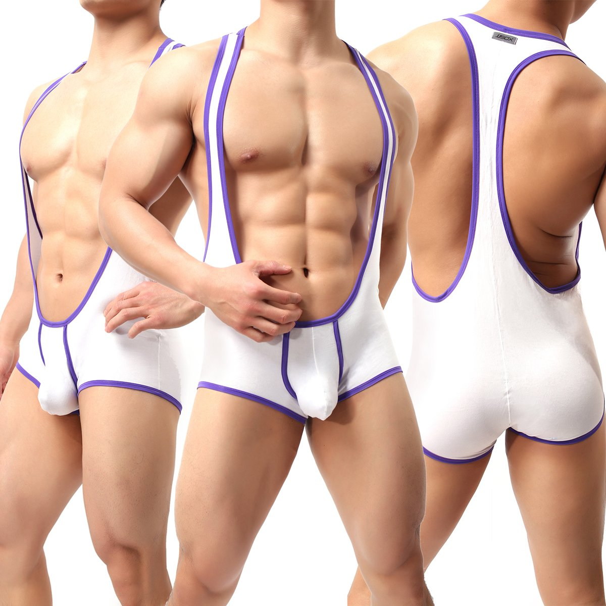 Yeke Men's Sexy Body Leotard Freestyle Wrestling Singlet Backless Modal Bodysuit (White, XL)