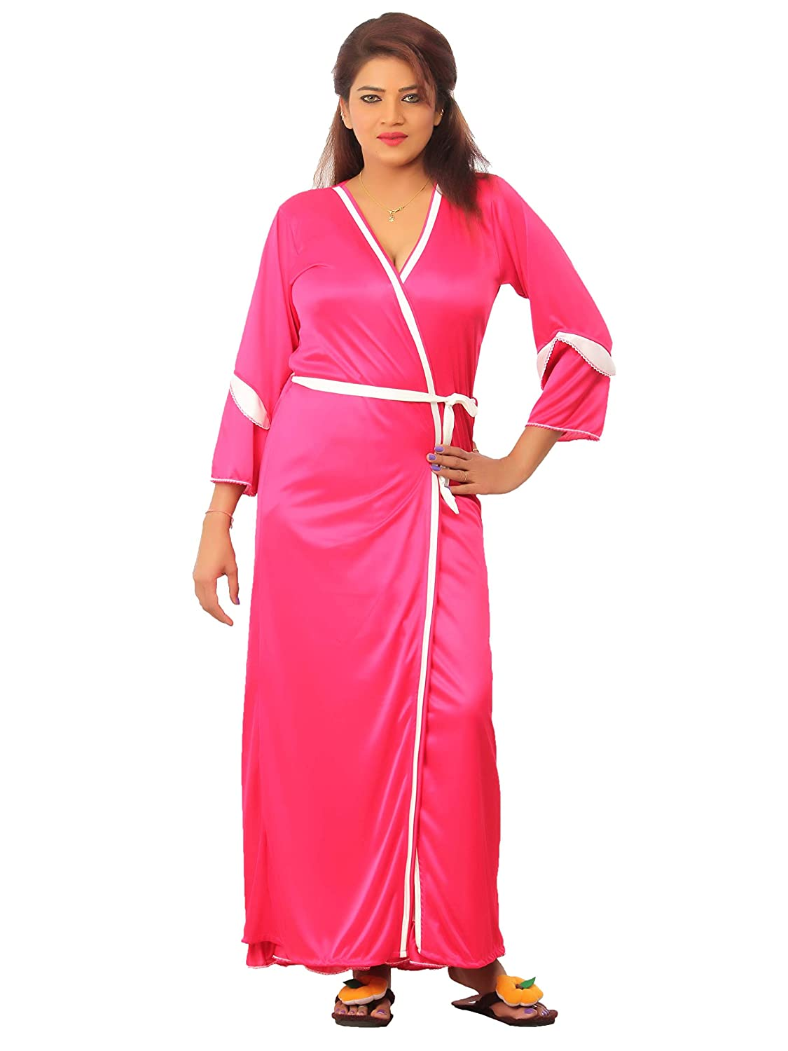 467ecf44e8 Bailey Women s Satin Jacket Night Gown- Combo Pack of 2 (Pink
