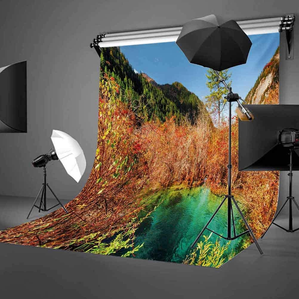 Nature 6.5x10 FT Backdrop Photographers,Idyllic Fall Landscape with a Creek Among The Forest in National Park Valley Art Background for Baby Birthday Party Wedding Vinyl Studio Props Photography