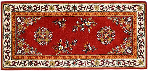 Minuteman International Burgundy Oriental Wool Hearth Rug, Rectangular