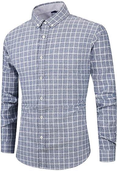Heetey - Camisa de Manga Larga para Hombre, con Botones, Cuello invertido, diseño Casual, Camisa de Manga Larga para Hombre: Amazon.es: Ropa y accesorios