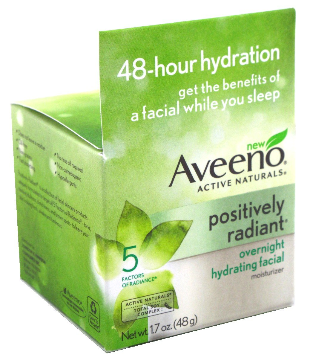Aveeno Positively Radiant Overnight Facial Moistzr 1.7 Ounce (50ml) (3 Pack)