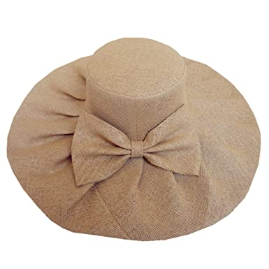 8cfc99e66c0 Women Linen Floppy Ruffle Kentucky Derby Hat with Big Bowknot Sun Hats  Wedding Church Cap Summer