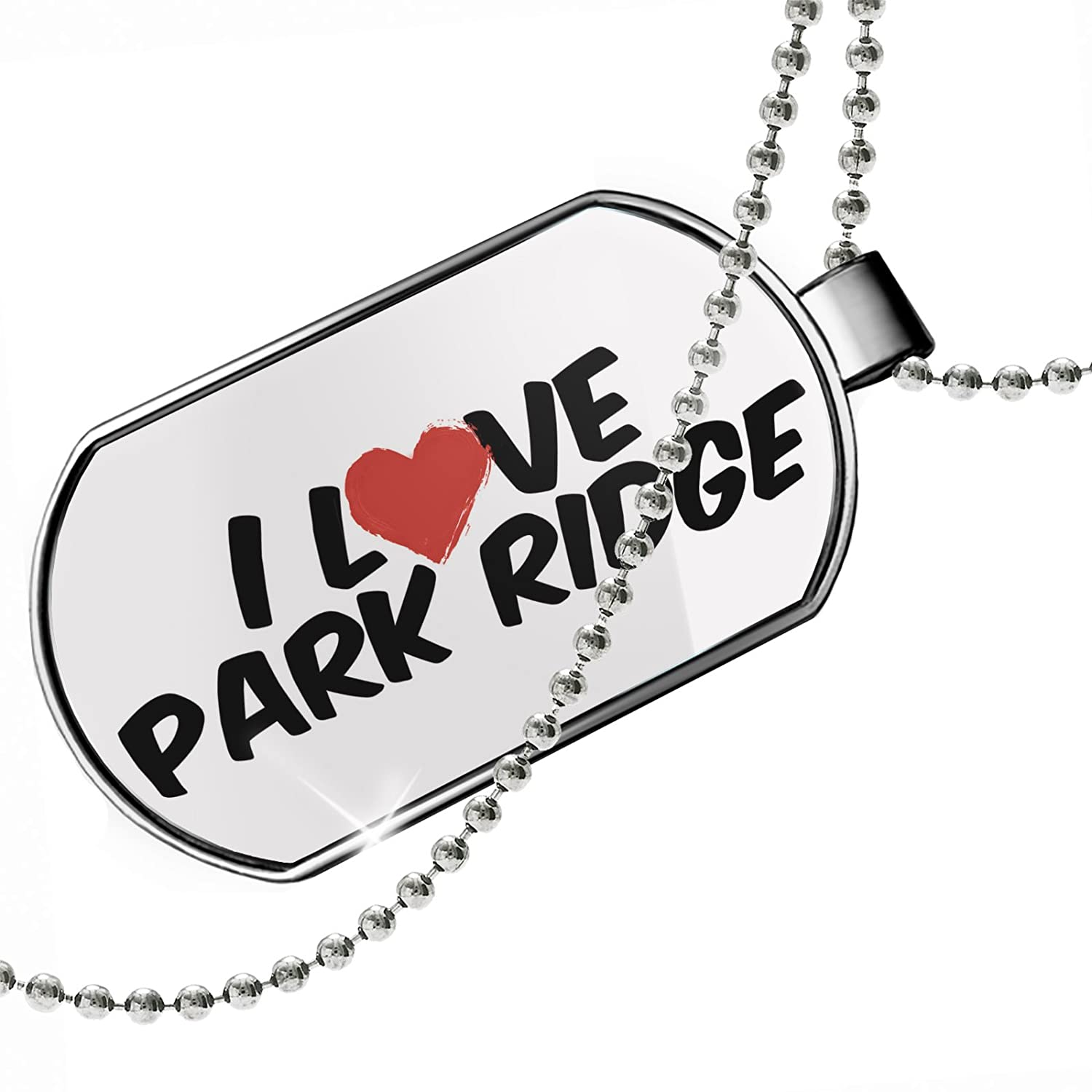 NEONBLOND Personalized Name Engraved I Love Park Ridge Dogtag Necklace