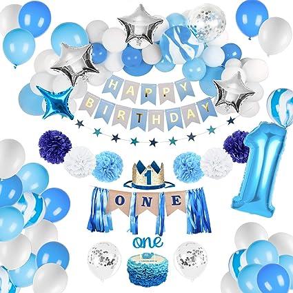 JOYYPOP 1st Birthday Boy Decorations - Baby Boy 1st birthday Party supplies blue decorations 67PCS with 1st Birthday Baby Crown, ONE Cake Topper, 1st ...