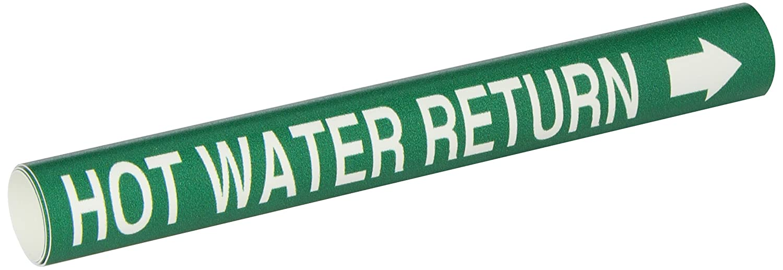 B-915 White On Green Coiled Printed Plastic Sheet Legend Hot Water Return Brady 4337-B Bradysnap-On Pipe Marker