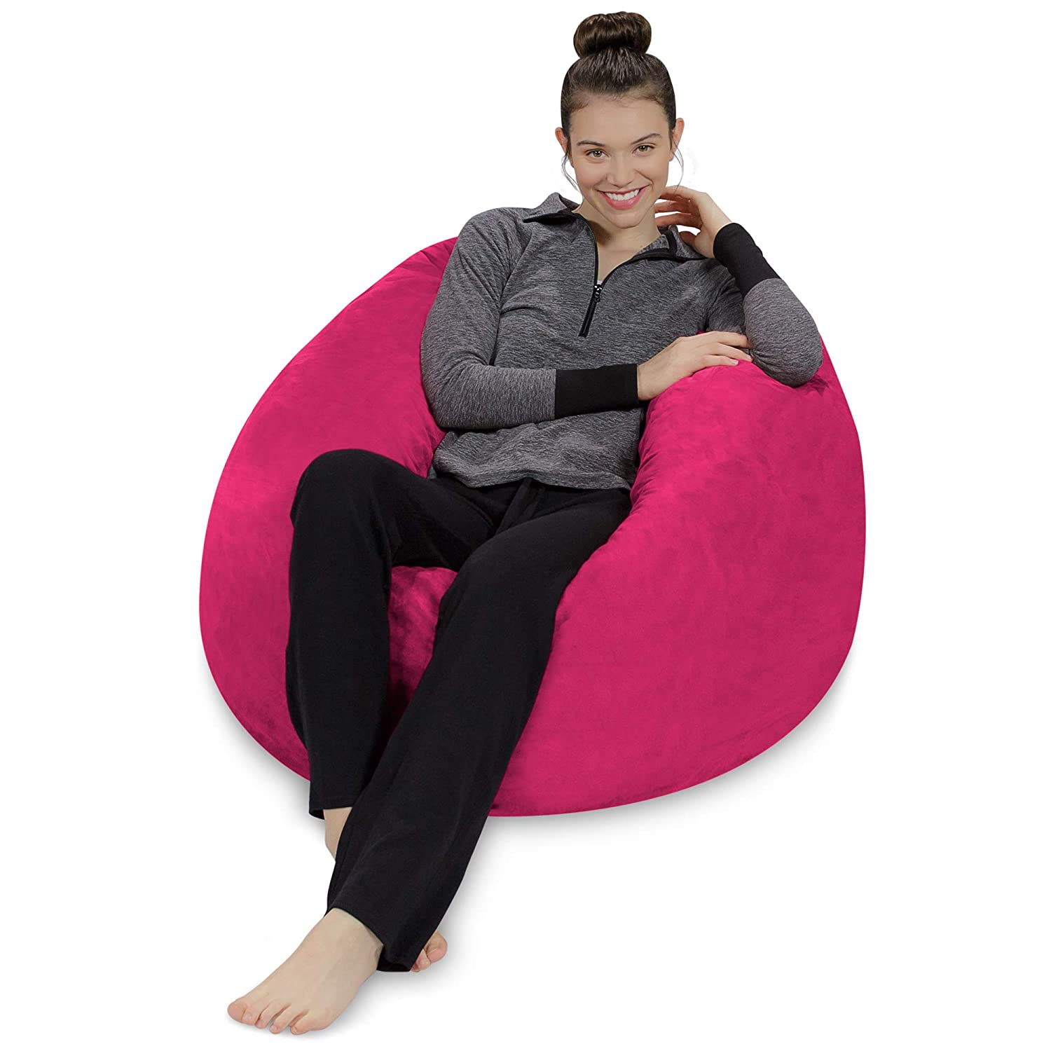 Sofa Sack – Plush, Ultra Soft Bean Bag Chair – Memory Foam Bean Bag Chair with Microsuede Cover – Stuffed Foam Filled Furniture and Accessories for Dorm Room – Magenta 3