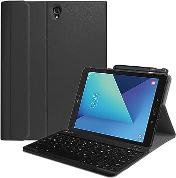 Fintie Funda con teclado inalámbrico Bluetooth con magnético desmontable para Samsung Galaxy Tab S3 T820 y T825 alemán 24,58 cm (9,68 pulgadas) *Negro