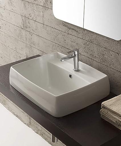 Lavabo bagno arredo design incasso, in ceramica bianca, cm 80x46,5 ...