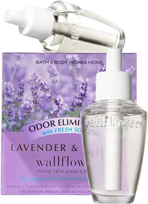 Bath & Body Works Lavender & Vanilla Odor Eliminating With Fresh Source Wallflowers Home Fragrance Refills, 2-Pack (1.6 fl oz total)