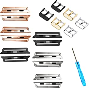 ONELANKS Watch Band Connector Kit Replaceable Metal Connection Adapter Fit for iWatch Straps Series 5 4 (44mm) Series 3 2 1 (42mm) Silver+Black+Rose Gold(6 Pack)