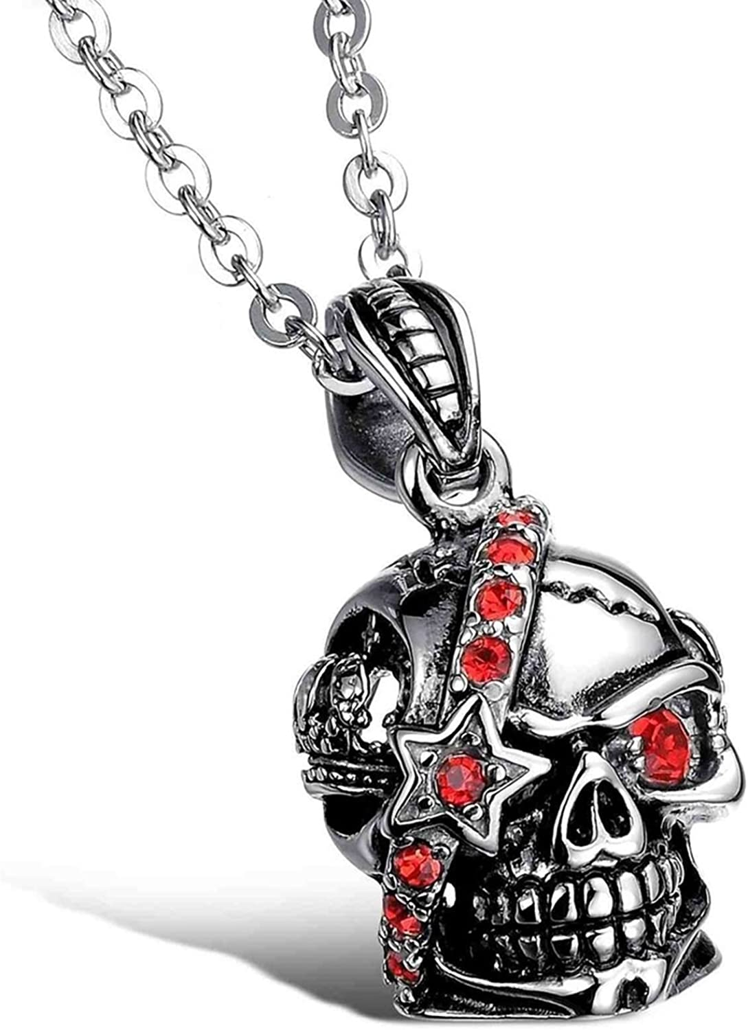 Aokarry Jewelry Men Stainless Steel Necklace Pendant Necklace Skull Silver Necklace for Men 30 MM