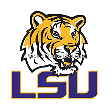 8 round lsu tigers logo edible image cake cupcake topper rh amazon com LSU Logo Black and White New LSU Logo
