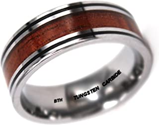Mens Ring -KOA WOOD Inlay Tungsten Carbide 8mm Wide Wedding Engagement Band Ring