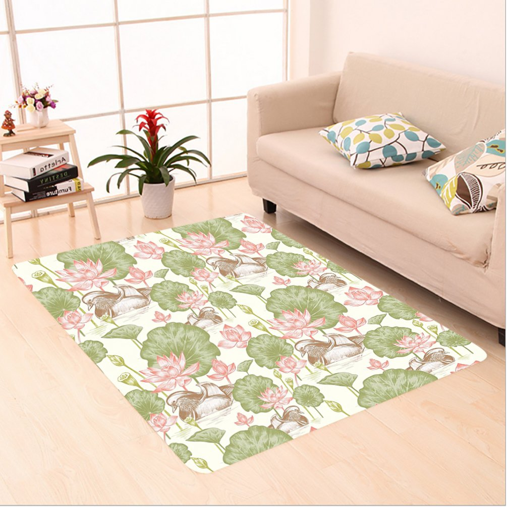 Nalahome Custom carpet Ducklings in Lake Lotus Flowers Lilies Vintage Print River Country Home Nature Pink Green White area rugs for Living Dining Room Bedroom Hallway Office Carpet (5' X 7')
