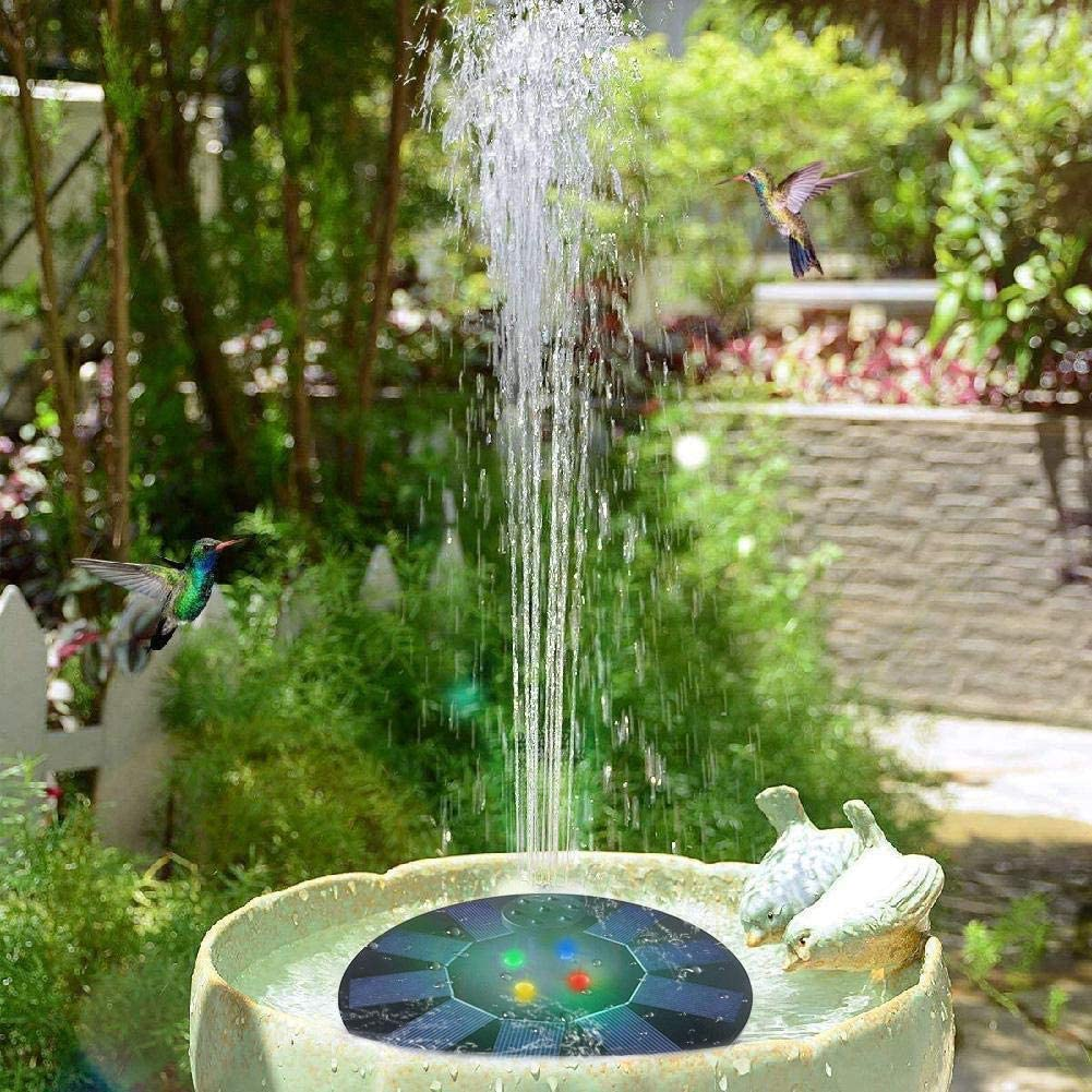 with 4 Nozzles LED Lights for Bird Bath Garden Upgraded Solar Powered Garden Fountain Water Feature Pond Pump Solar Fountain Pump Pond Swimming Pool Outdoor