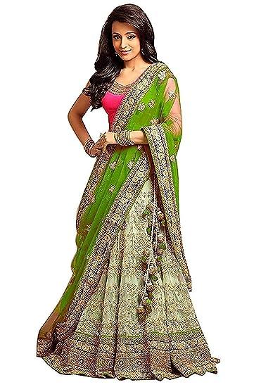 593328e272 Nancy Fab Women's Net Embroidered Bridal Angora Lehenga Choli (NF_50, Green,  Free Size