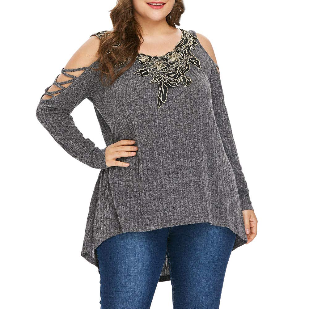 Lolittas Women Ladies Plus Size Tops T-Shirt Blouse Pullover, Sexy Cold Shoulder Tunic Peplum Going Out Strapless Floral Batwing Long Sleeve Ruffles