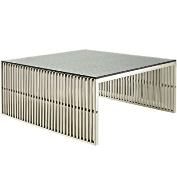 Amazon.com: Modway Gridiron Stainless Steel Coffee Table With Tempered  Glass Top: Kitchen U0026 Dining