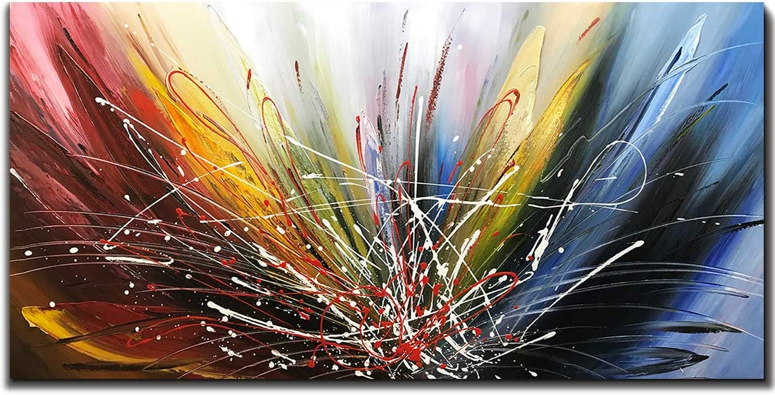 Tiancheng Art 24x48 inch Abstract Art Canvas Art Paintings Contemporary Artwork 100% Hand-Painted Oil Painting Wall Art for Living Room Ready to Hang for Home Decoration