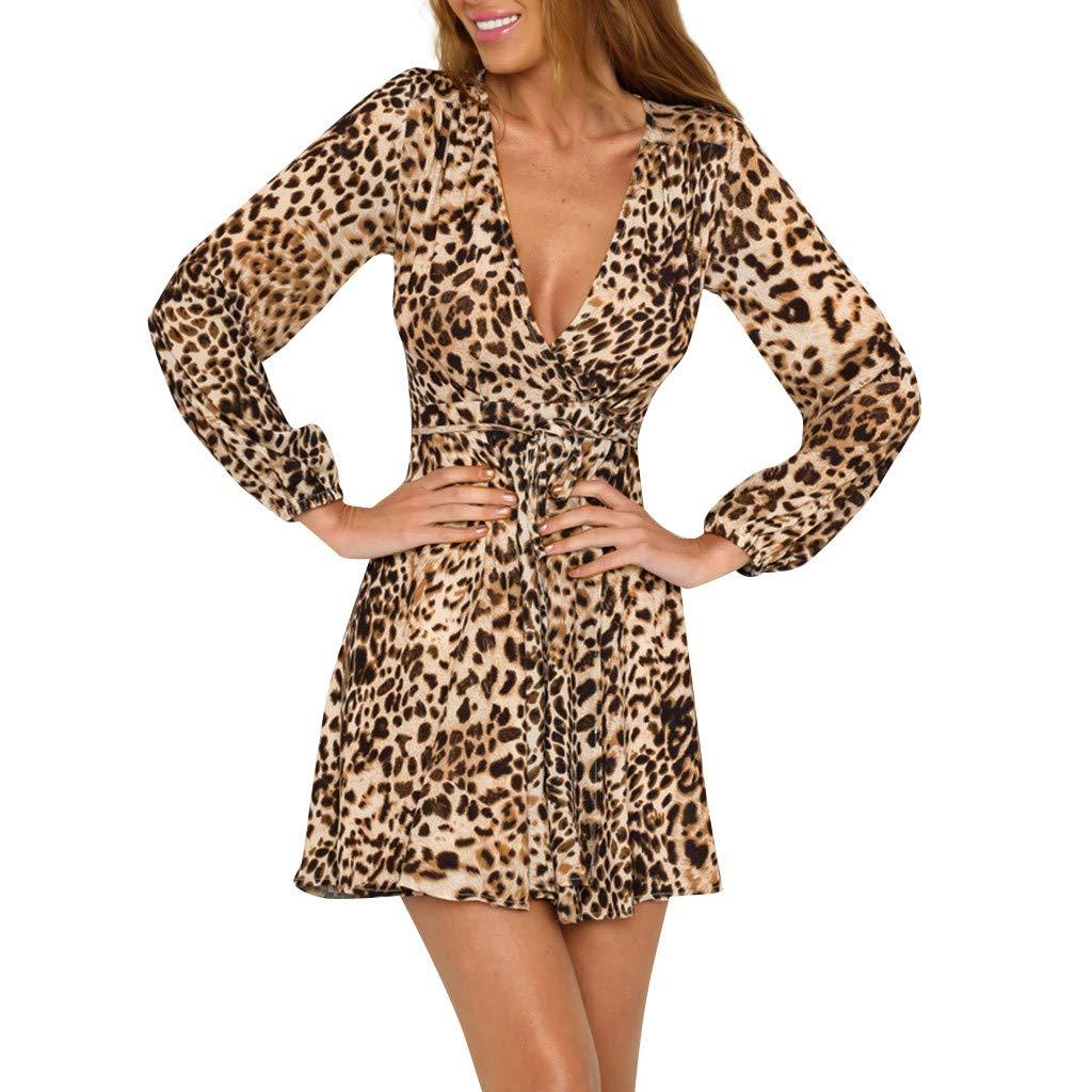 Bibao Vestido de mujer con estampado de leopardo y cuello en V ...