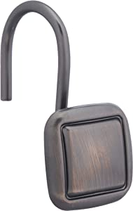 AmazonBasics Shower Curtain Hooks - Lined Square Hooks, Oil-Rubbed Bronze