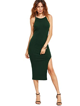 She In Women's Sexy Solid Sleeveless Side Slit Bodycon Dress by She In