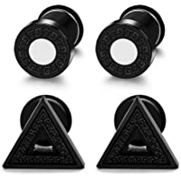 Yadoca 2 Pairs Stainless Steel Stud Pierced Earrings Set Cool Triangle and Round Earrings Men Women Quirky Earrings for Boys Teen Silver-tone, Black and Gold-tone 3 Colours
