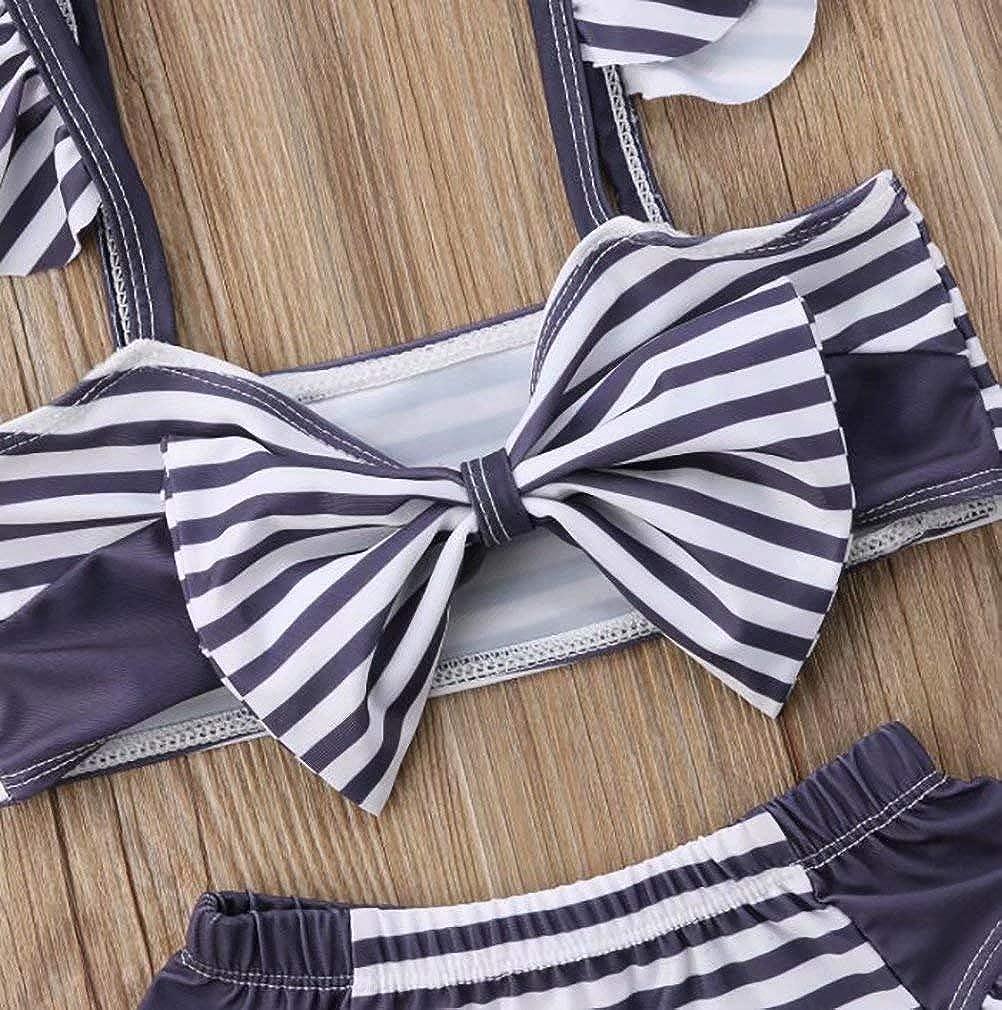 SUPEYA Toddler Baby Girl Strapless Bowknot Tops Stripe Swimsuit Bikini Beachwear