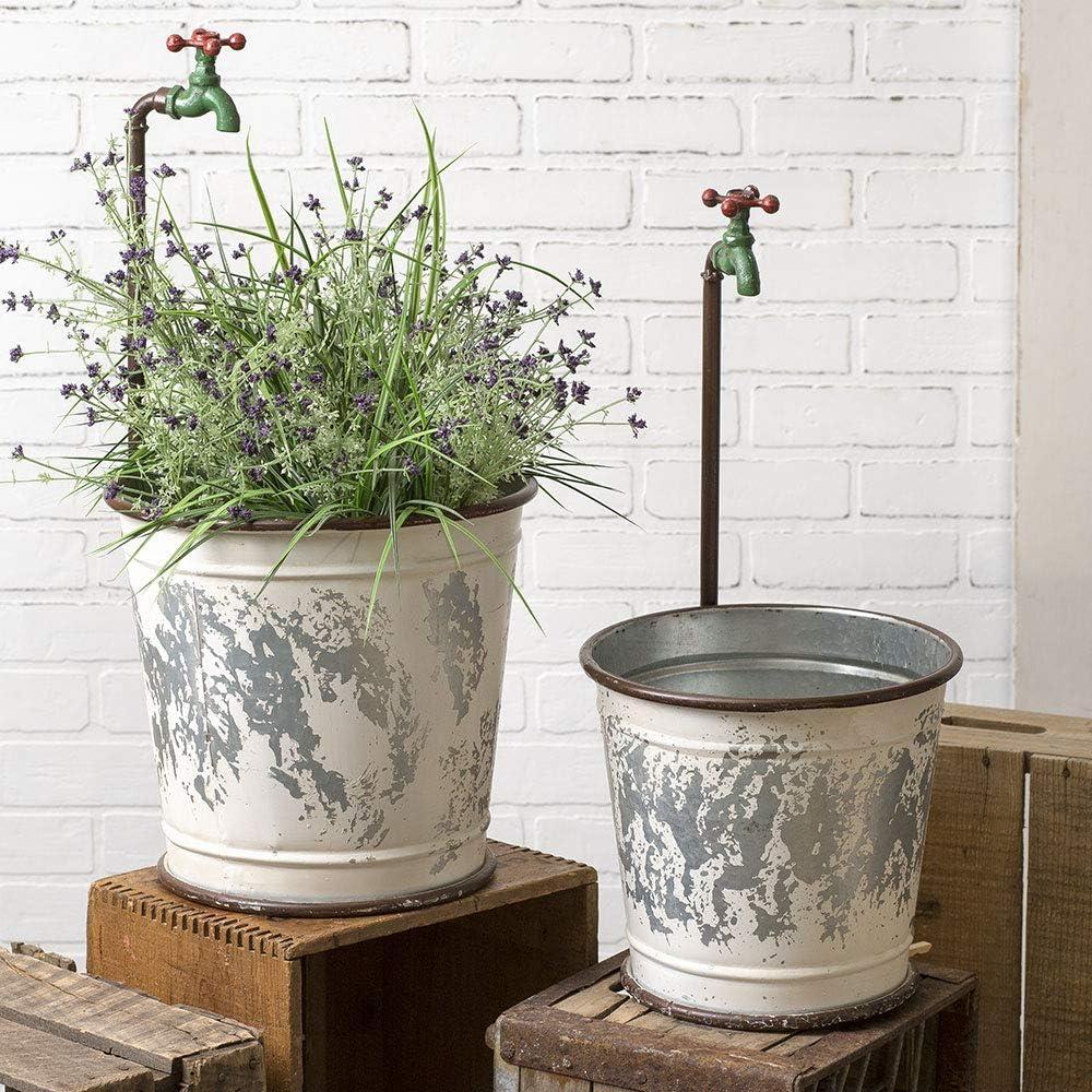 Ctw Home Collection 770201 Garden Faucet Flower Buckets, Set of 2, Metal, Multicolor