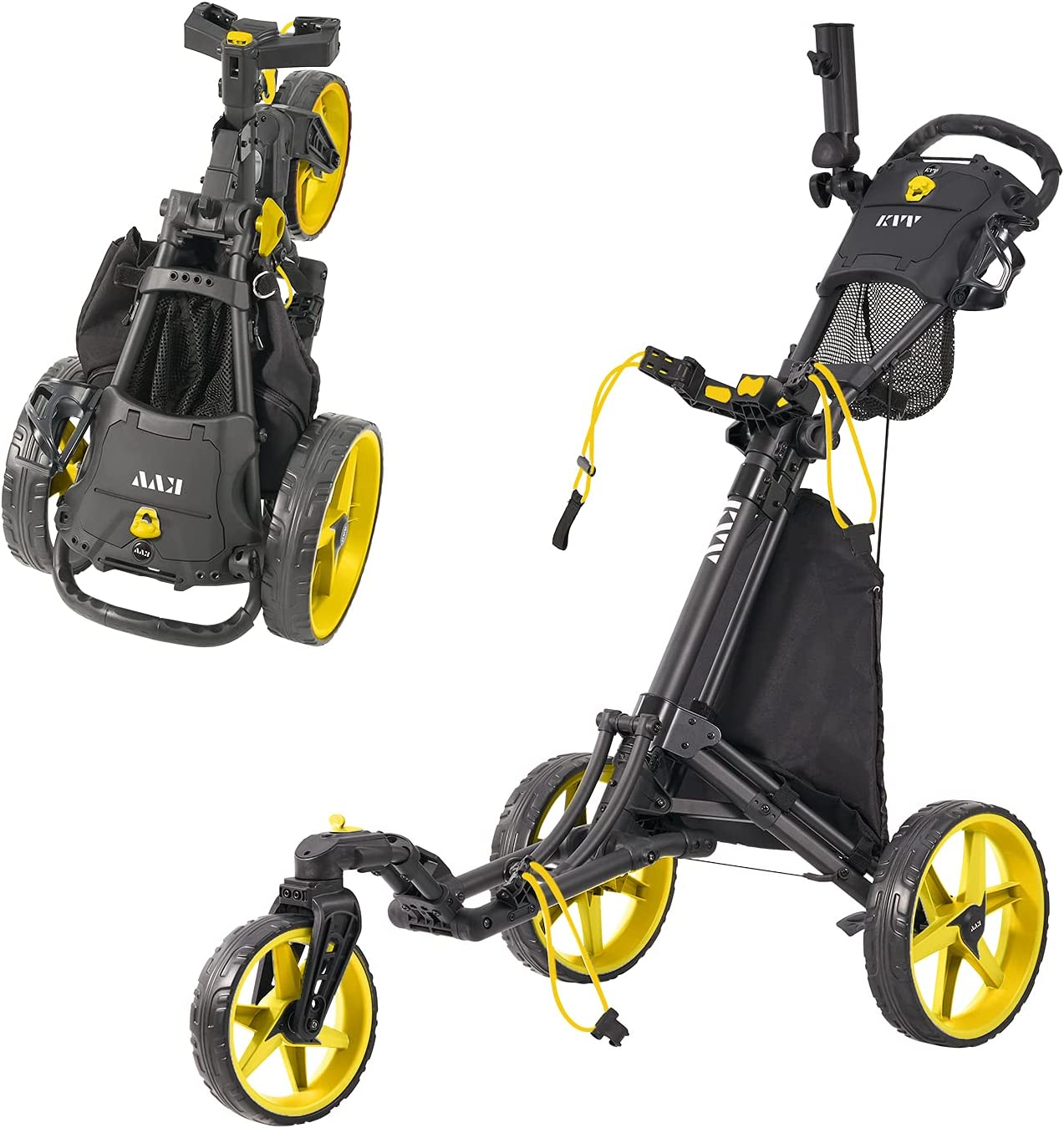 KVV 3 Wheel 360 Rotating Front Wheel Golf Push Cart Open and Close in ONE Second-Free Umbrella Holder Included