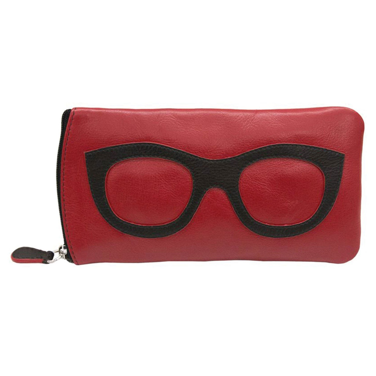 Women's Leather Eyeglasses Case - Zipper Close - 7'' x 4'' - Red with Black