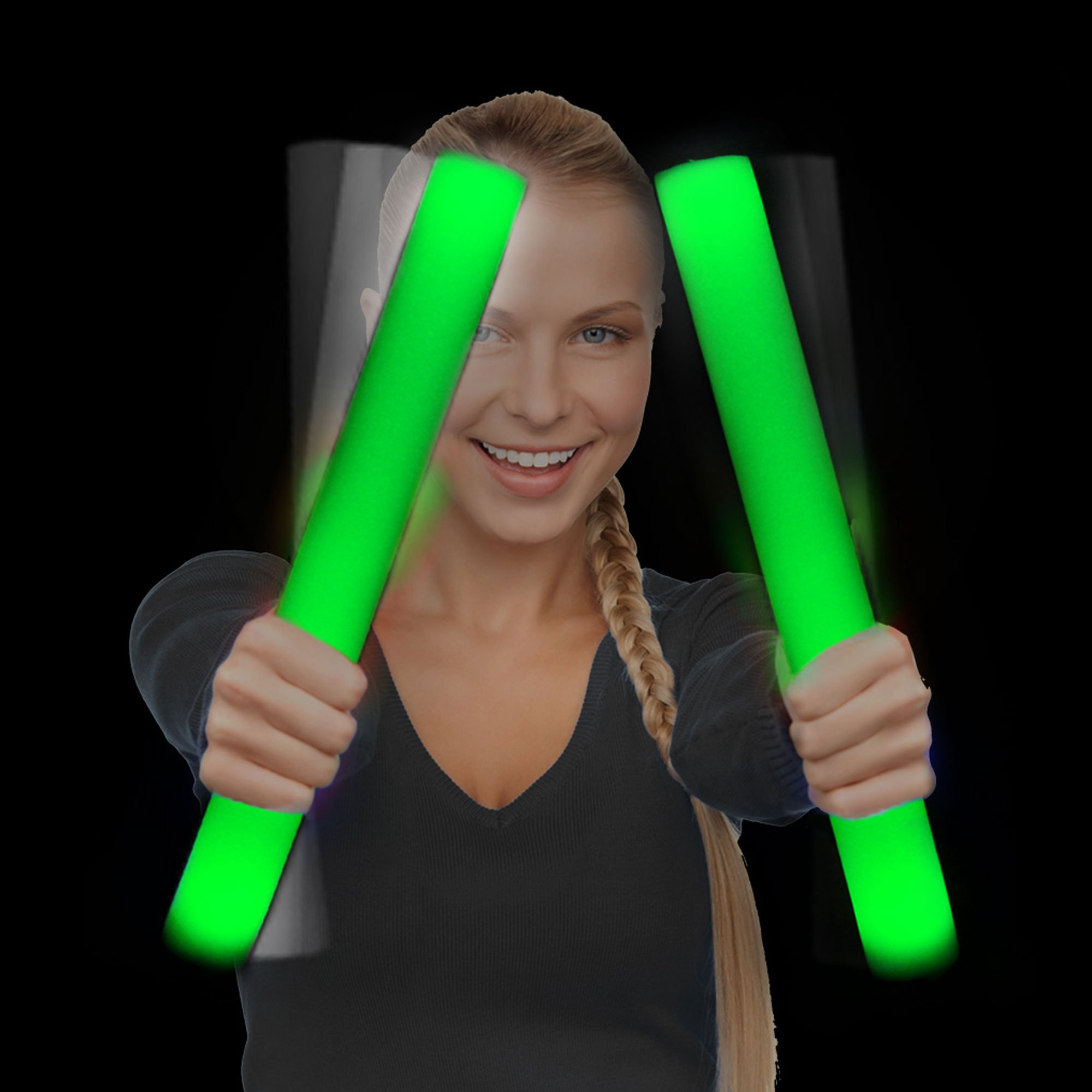 Fun Central 12 Packs - LED Foam Stick Bulk - Light Up Batons for Wedding, Concert and Party - Green