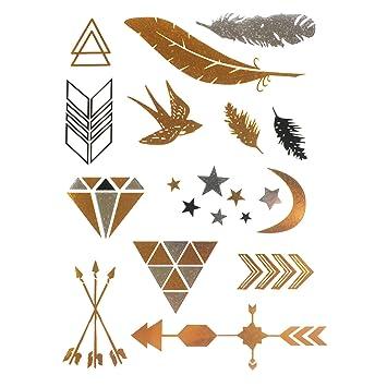 COKOHAPPY Metálico Temporales Tatuaje Luna Stars Pluma Feather ...