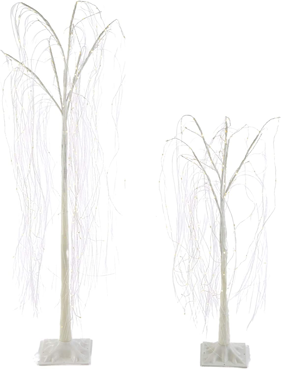 NOMA Pre-Lit Light Up Willow Tree Set | Outdoor Christmas Lawn Decoration | Indoor/Outdoor | 2-Pack