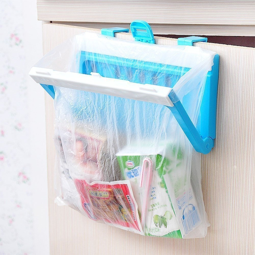 HULISEN Hanging Trash Garbage Bag Holder, Collapsible Practical Plastic Bracket for Kitchen Cupboard Cabinet