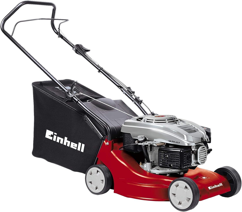 Einhell GH-PM 40 P - Cortacésped de gasolina (1600 Vatios, altura de corte 3 niveles   32-62 mm , ancho de corte 40 cm, hasta 800m² de jardín, 45L de capacidad de bolsa) (ref.3401013)