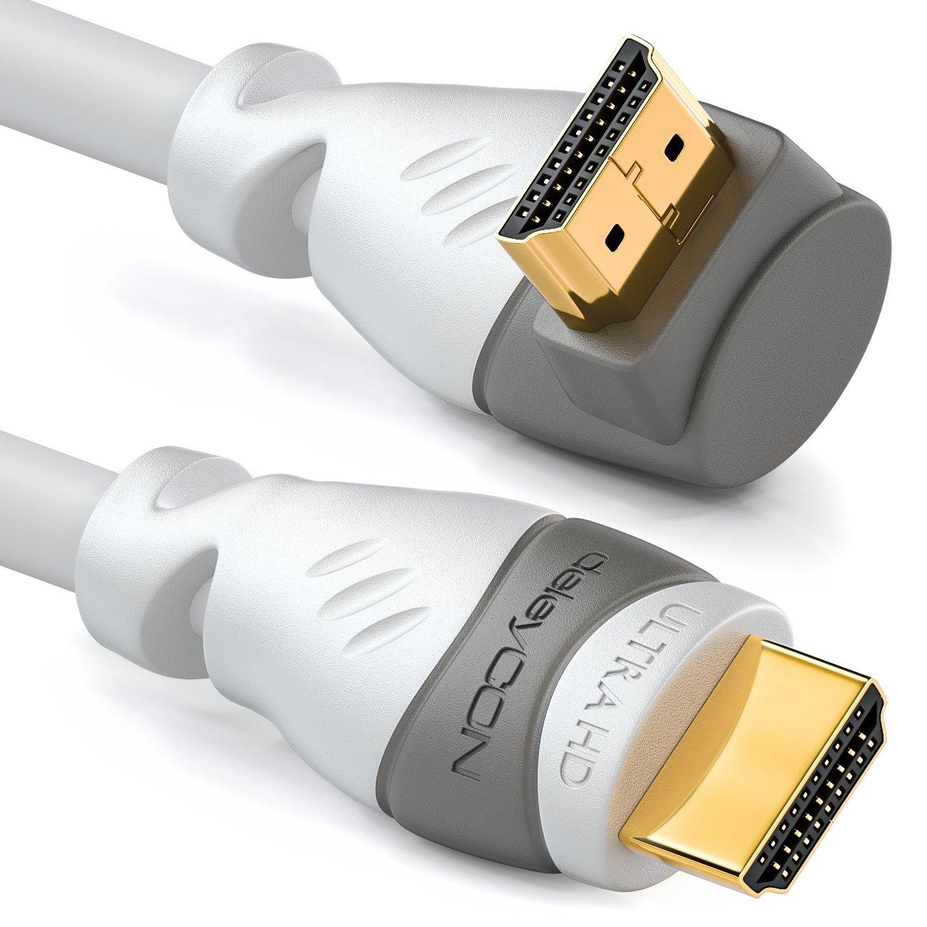 UHD 4K HDR 3D 1080p 2160p ARC deleyCON 1m Cable HDMI /Ángulo de 90/° de Alta Velocidad con Ethernet Blanco Compatible con HDMI 2.0//1.4