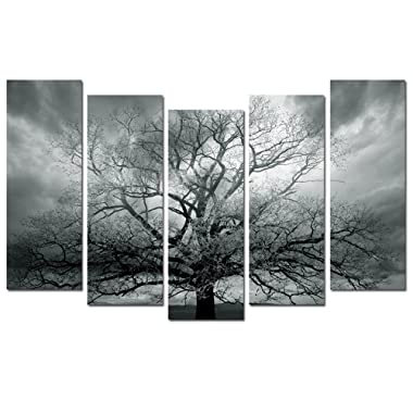 Sea Charm - Tree Canvas Print 5 Panels Large Winter Lonely Tree Wall Art Modern Home and Office Inner Wall Decor Landscape Photography Giclee Print Canvas Artwork Ready to Hang Each Piece 10 x28