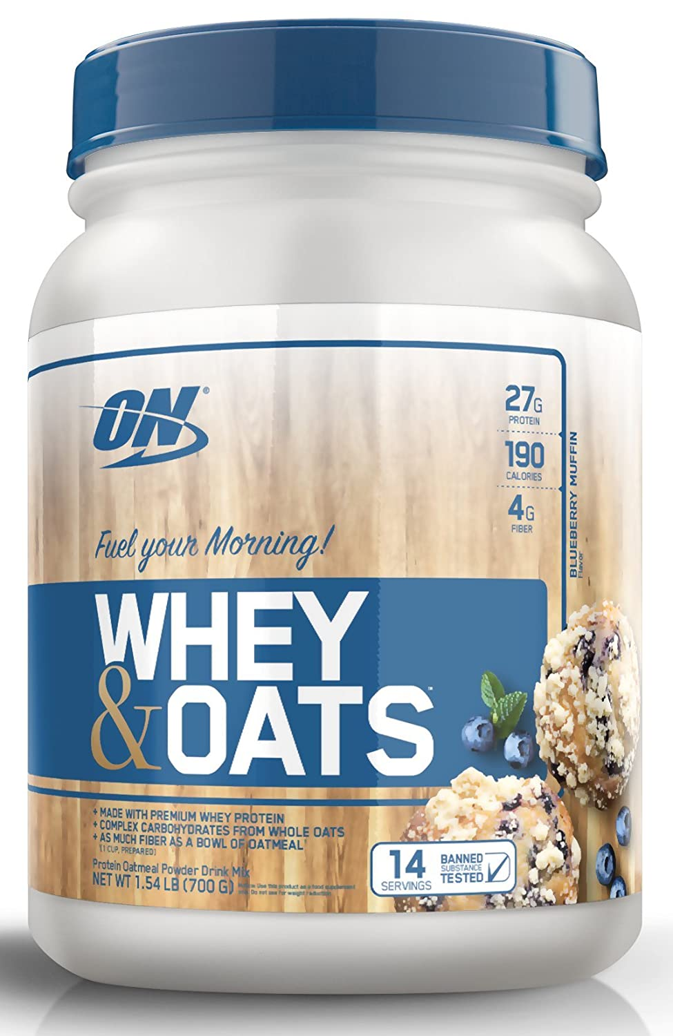 Optimum Nutrition Whey & Oats Protein Powder, Breakfast or Anytime Meal Replacement Shake, Blueberry Muffin, 14 servings