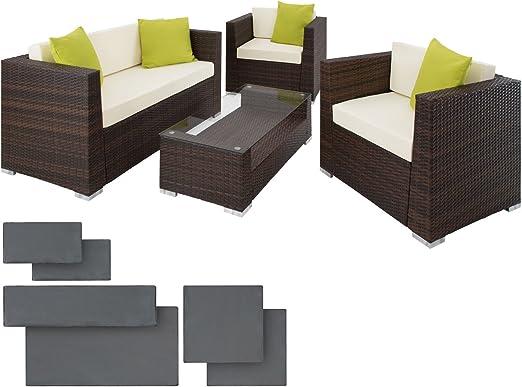 SSITG ratán aluminio Escobillero Asiento Grupo Muebles Muebles de Jardín Set: Amazon.es: Jardín
