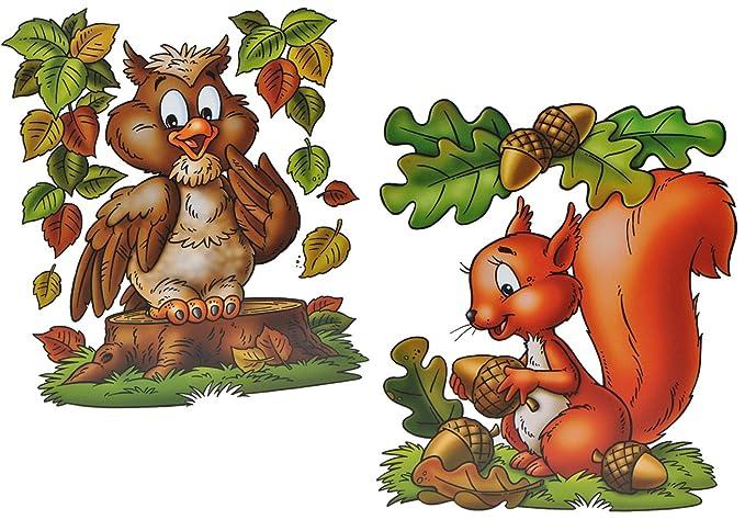 Vogelscheuche XL Fensterbild Herbst Eule Igel Eichhörnchen Sticker Fen