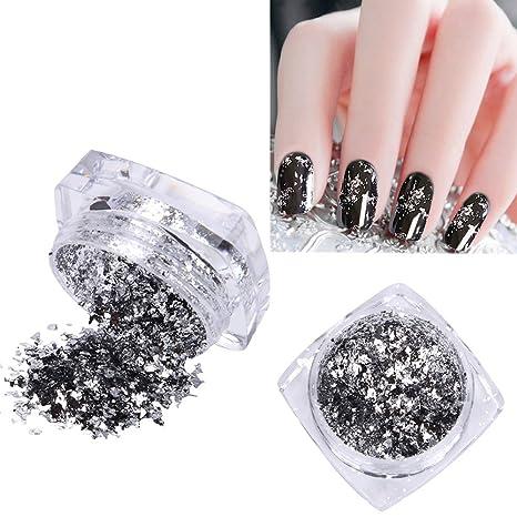 Decoración Glitter Lentejuelas Polvo scaglie Plata Espejo Manicura Uñas Nail Art