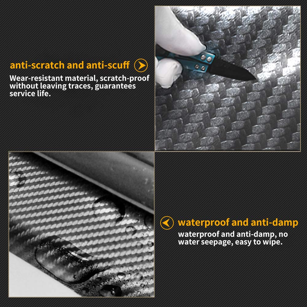 for Mitsubishi Outlander Lancer Evolution I-MIEV Mirage L200 Door Sill Protector Carbon Fiber Scuff Plate Covers Entry Threshold Stickers Black 4Pcs Car Kick Plate Guard