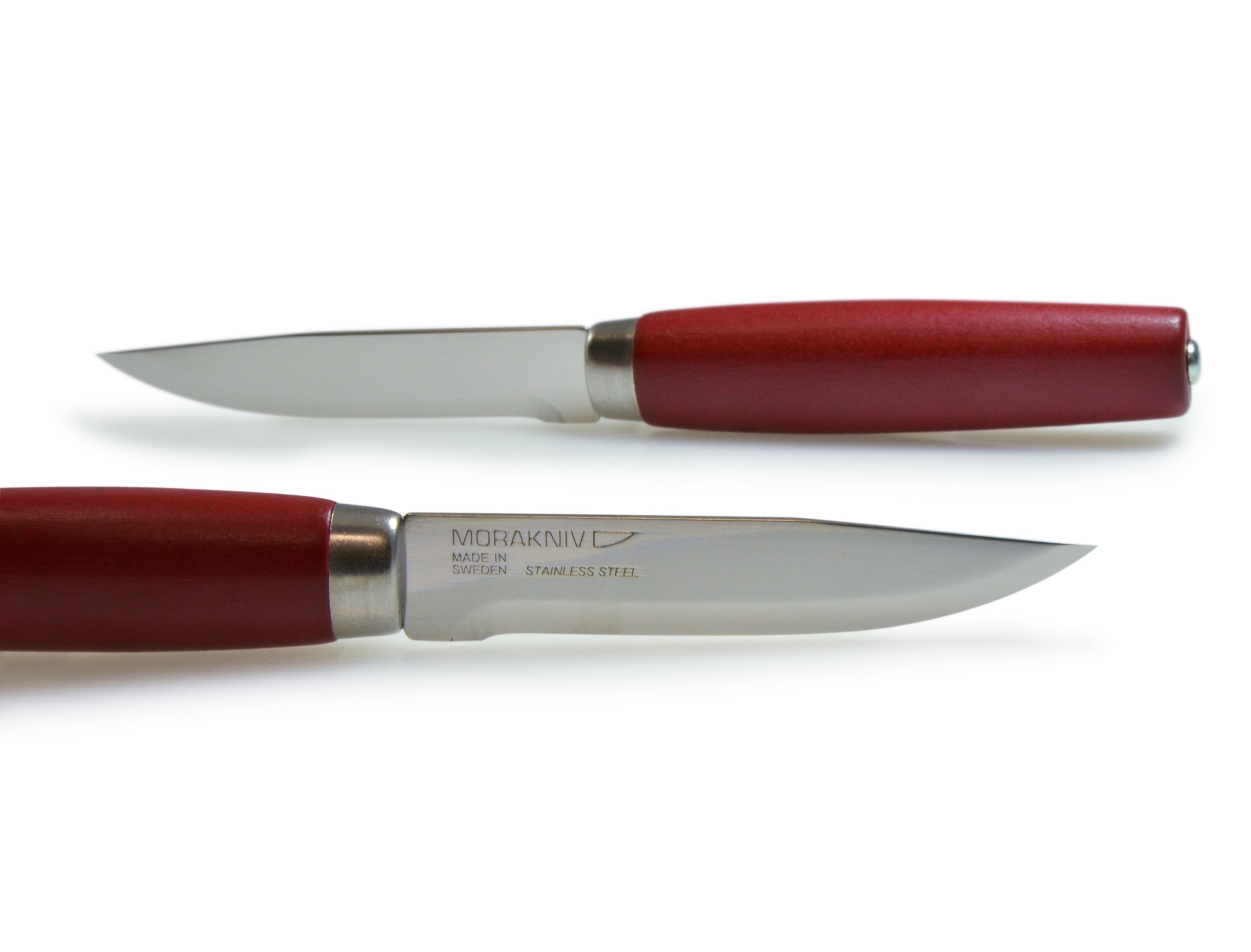 Frosts by Mora of Sweden Classic Steak Knife with 4.2-Inch Stainless Steel Blade and Red Birch Handle (Gift Set of 2)
