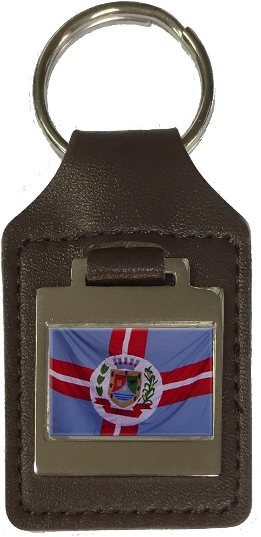 Leather Keyring Engraved Galileia City Minas Gerais State Flag