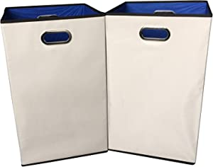 "Sodynee 2-Pack 23"" Closet Folding Laundry Clothes Hamper Sorter Basket Bin,Beige with Blue Interior"