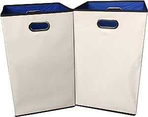 "Sodynee 2-Pack 23"" Closet Folding Laundry Clothes Hamper Sorter Basket Bin,Beige with Blue Interior"