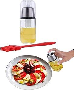 Olive Oil Sprayer Food-Grade Stainless Steel Dispenser Glass Mister Bottle - Bundled with Premium Oil Brush, Funnel & Cleaning Brush, Cooking Oil Sprayer Spritzer -Oil Mister Spray Bottle for Cooking