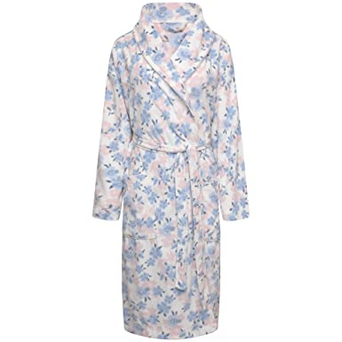 1fd6d4565b Ladies Soft Fleece Wrapover Dressing Gown. Ivory Pink Blue Floral. Sizes 8